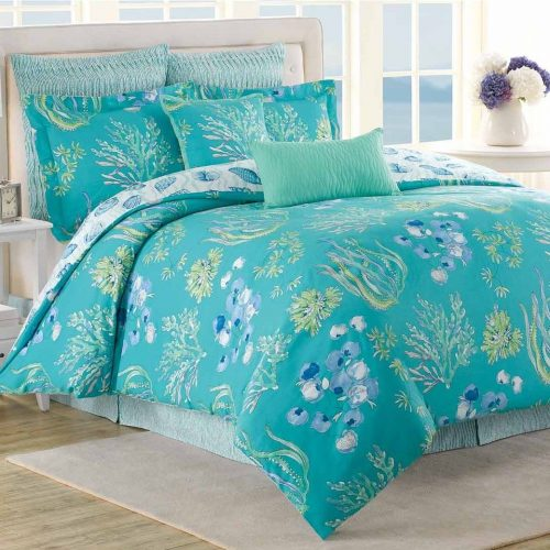 Pretty aqua Beachcomber comforter set