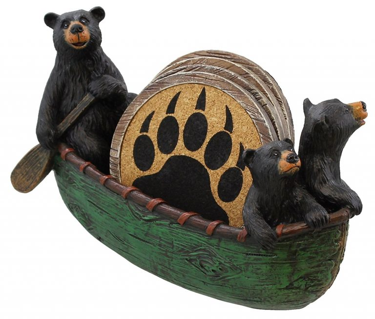 bear coasters with paw print