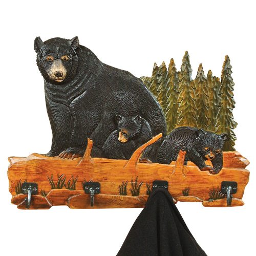 Carved bear family coat rack