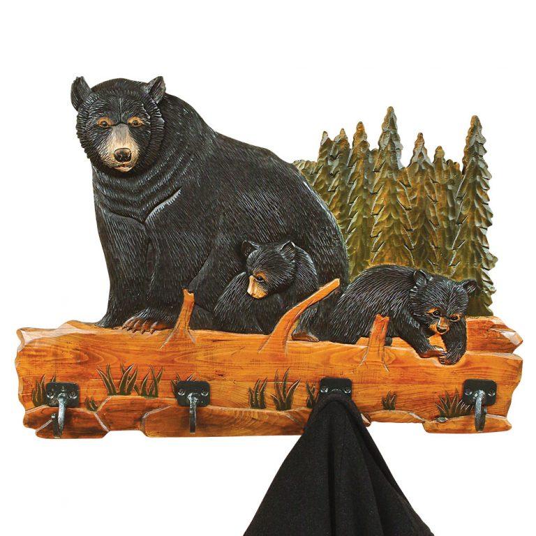 Carved bear family coat rack