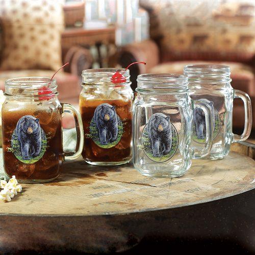 Bear mason jar glasses