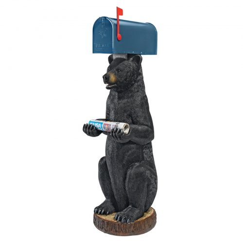 Bear statue with mailbox