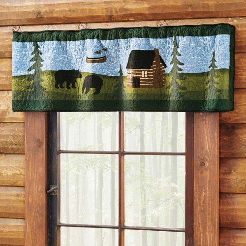 Bear River valance in a log cabin