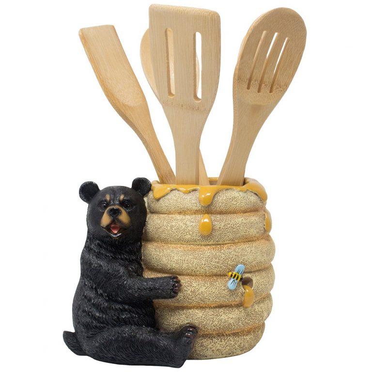 Bear utensil holder with wooden utensils