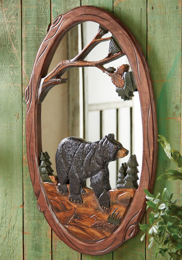black bear hand carved mirror