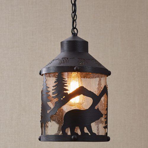 Black bear forest pendant light