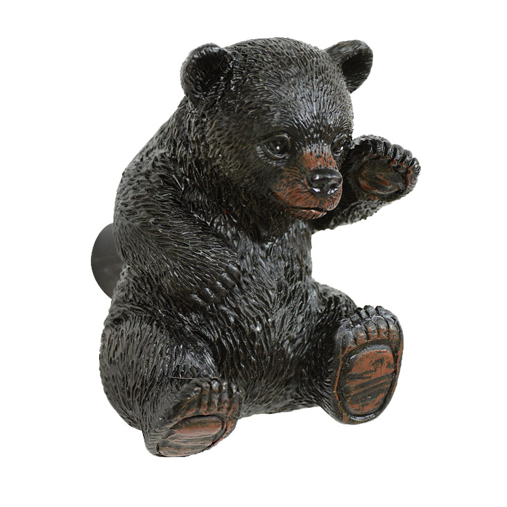 Black bear knob for furniture or cabinets
