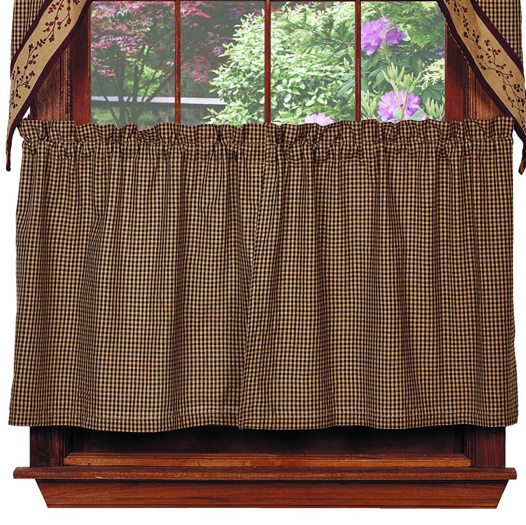 Black and tan gingham check tier curtains