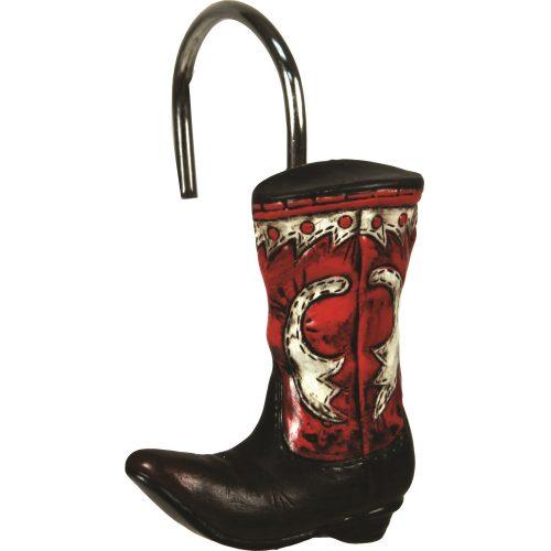 Cowboy boot shower curtain hooks
