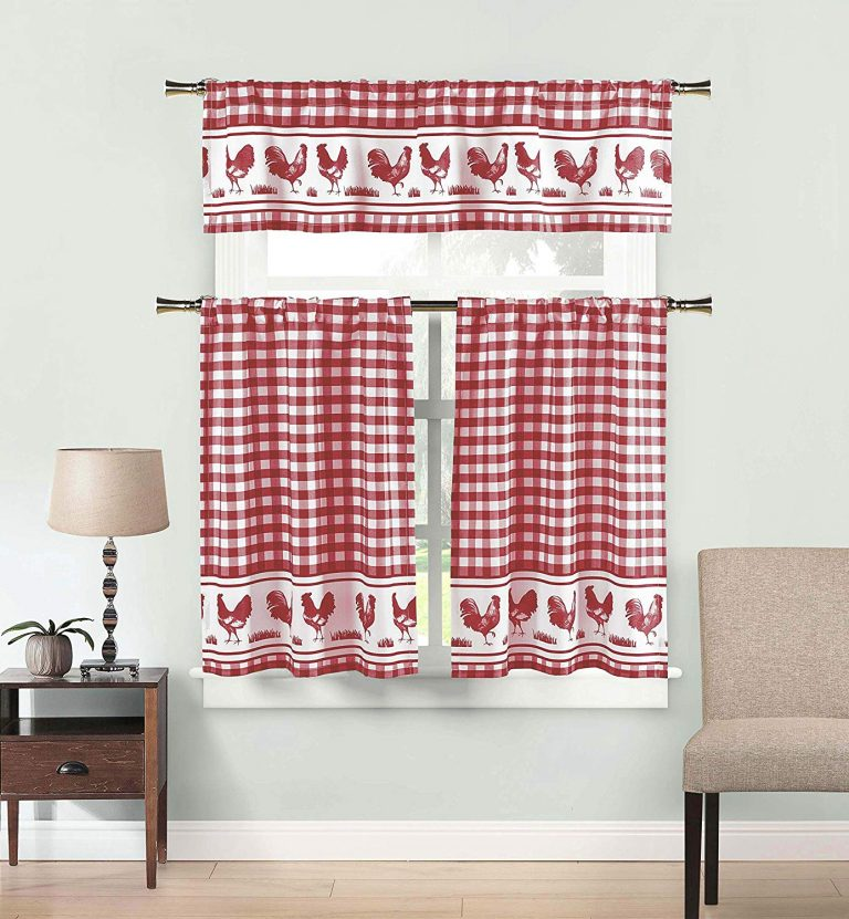 Burgundy check rooster tier curtains