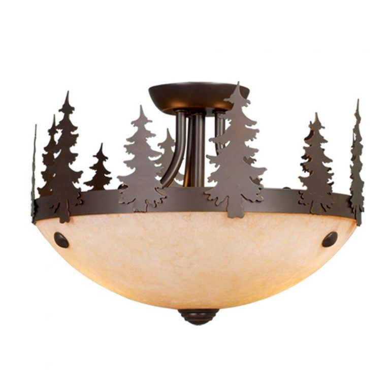 Canyon semi-flush ceiling light with tree silhouettes