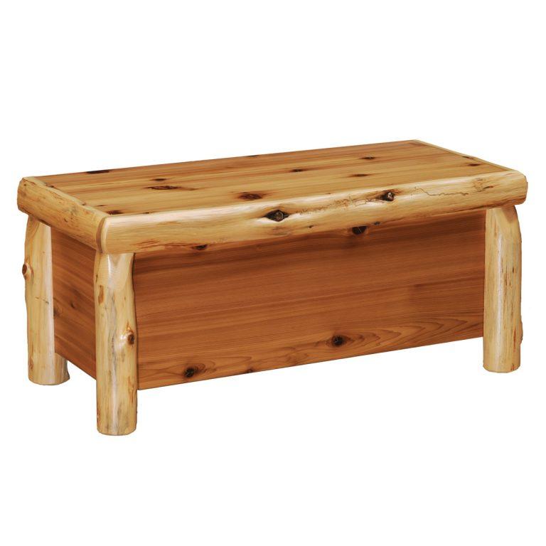 Cedar log blanket chest