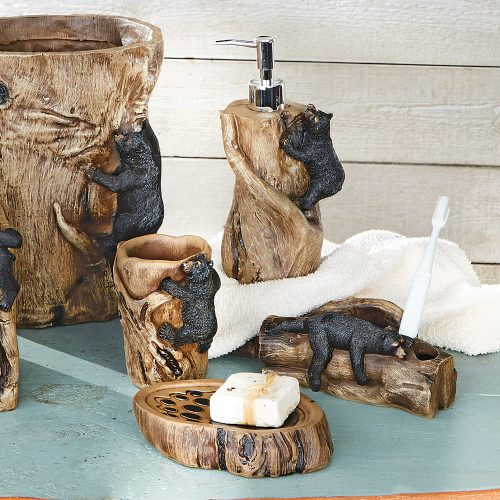 Climbing black bears bath accessories