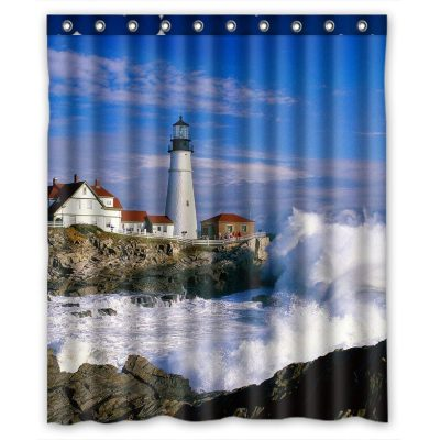 Shower curtain lighthouse, beach and ocean