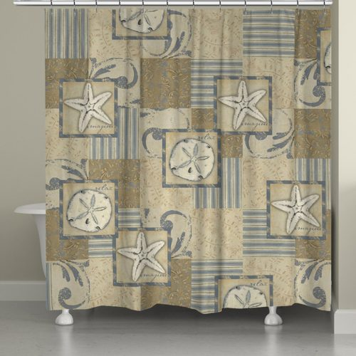 star fish and sand dollars on a neutral coastal theme shower curtain