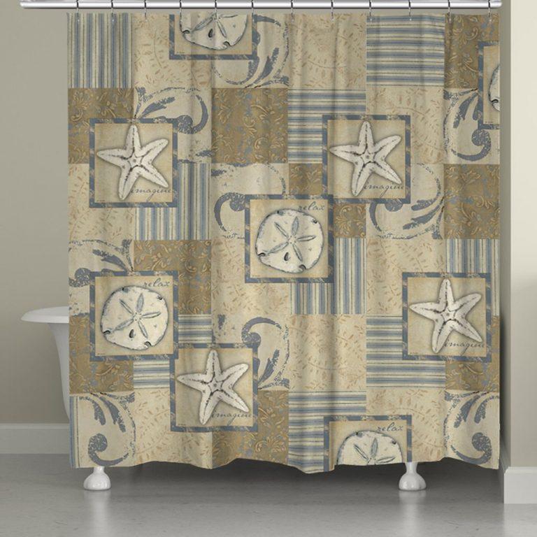 star fish and sand dollars on a neutral coastal theme shower curtain