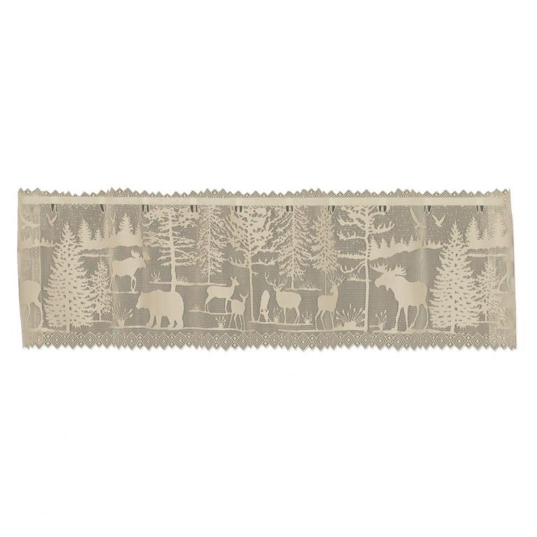 Cosette sheer valance with wildlife and trees