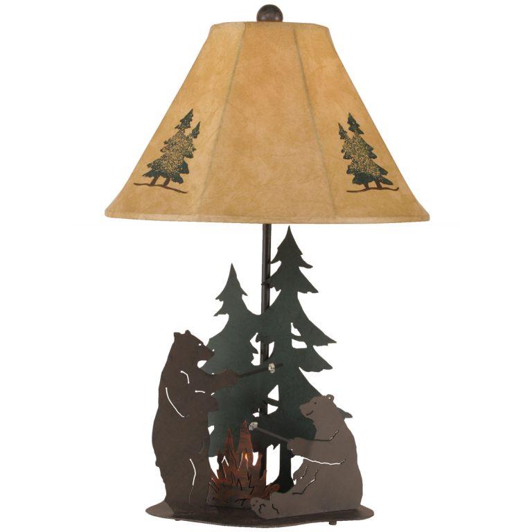Bear Fun Camping table lamp with bears roasting marshmallows
