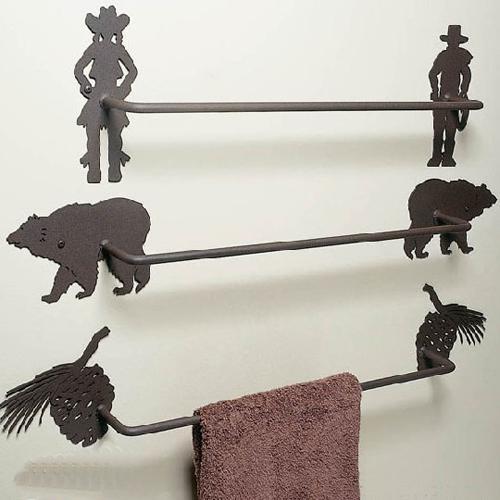 Custom towel bar with bear, pine cones and cowboys