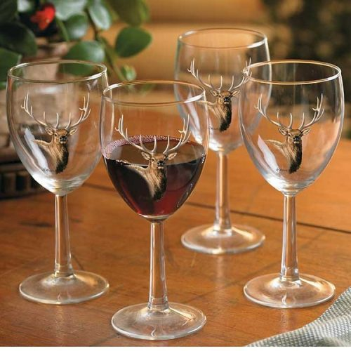 Wine glasses with elk