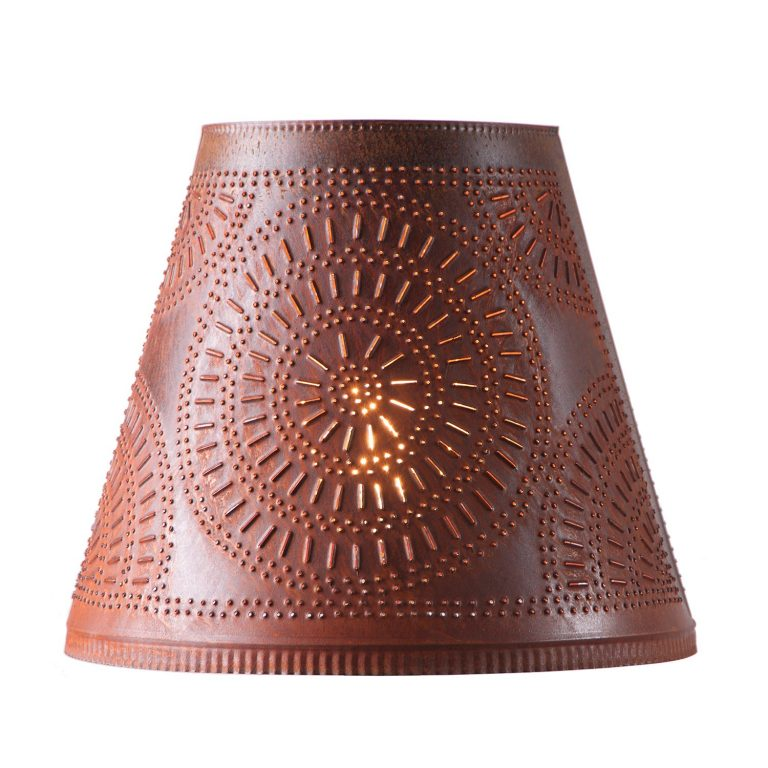 Fireside lamp shade with tin punch