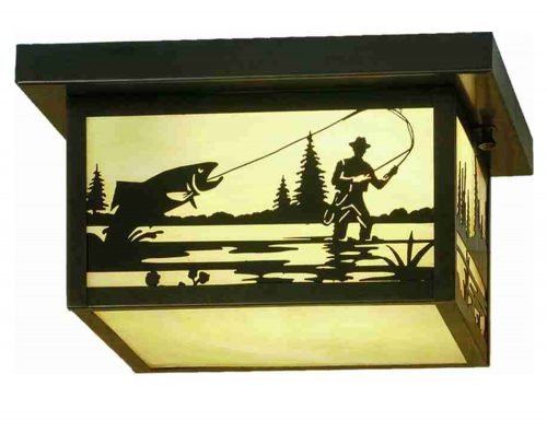 Fish creek ceiling light with fly fisherman and fish
