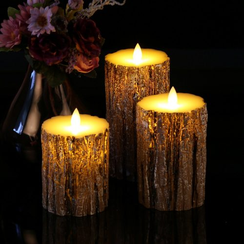 flameless candles with real wax pillars
