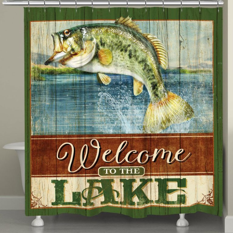 Flying fish shower curtain with bass