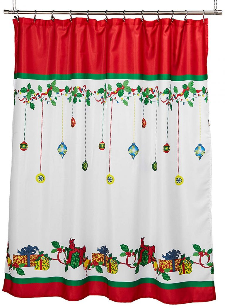colorful gift boxes and Christmas tree ornaments on fabric shower curtain