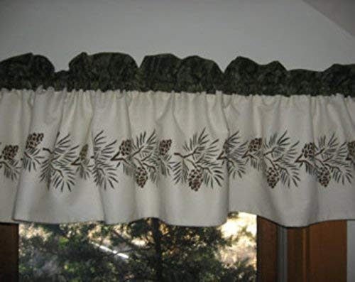 Valance hand stencilled with pine cones