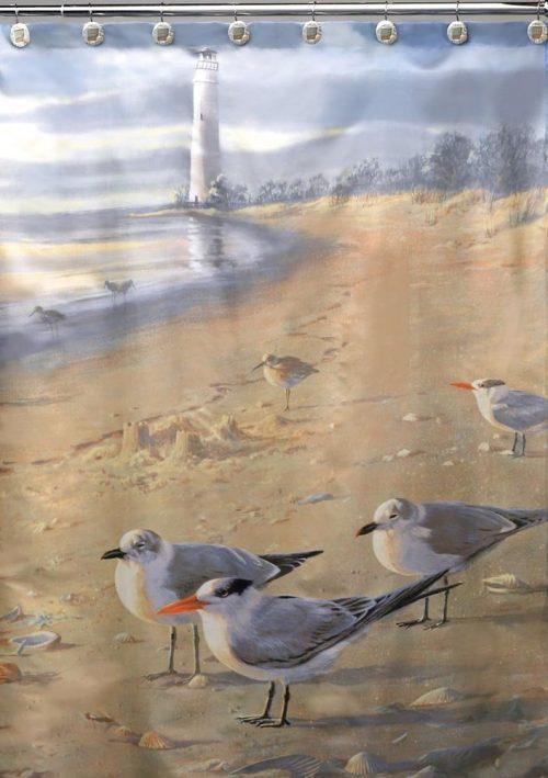 shore birds on the beach with lighthouse on shower curtain
