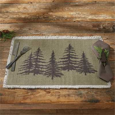 Place mat with hemlock trees