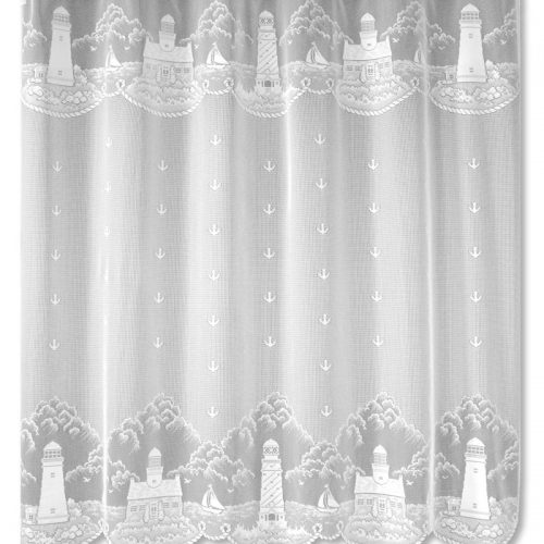 lace shower curtain with lighthouses, sailboats and beach scenes