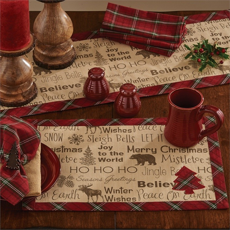 Highland red plaid Christmas table linens