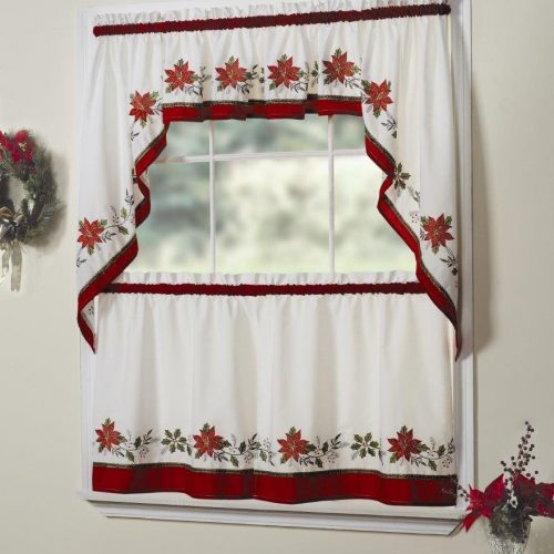 Christmas curtains with holly