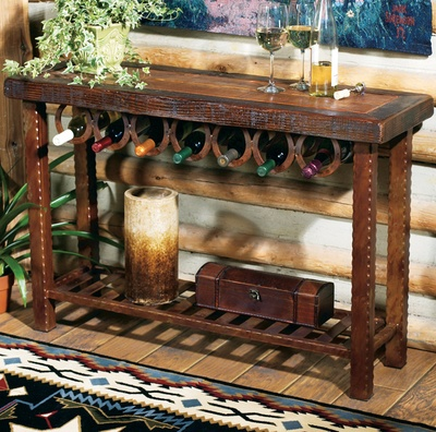 Table with horseshoe wine rack
