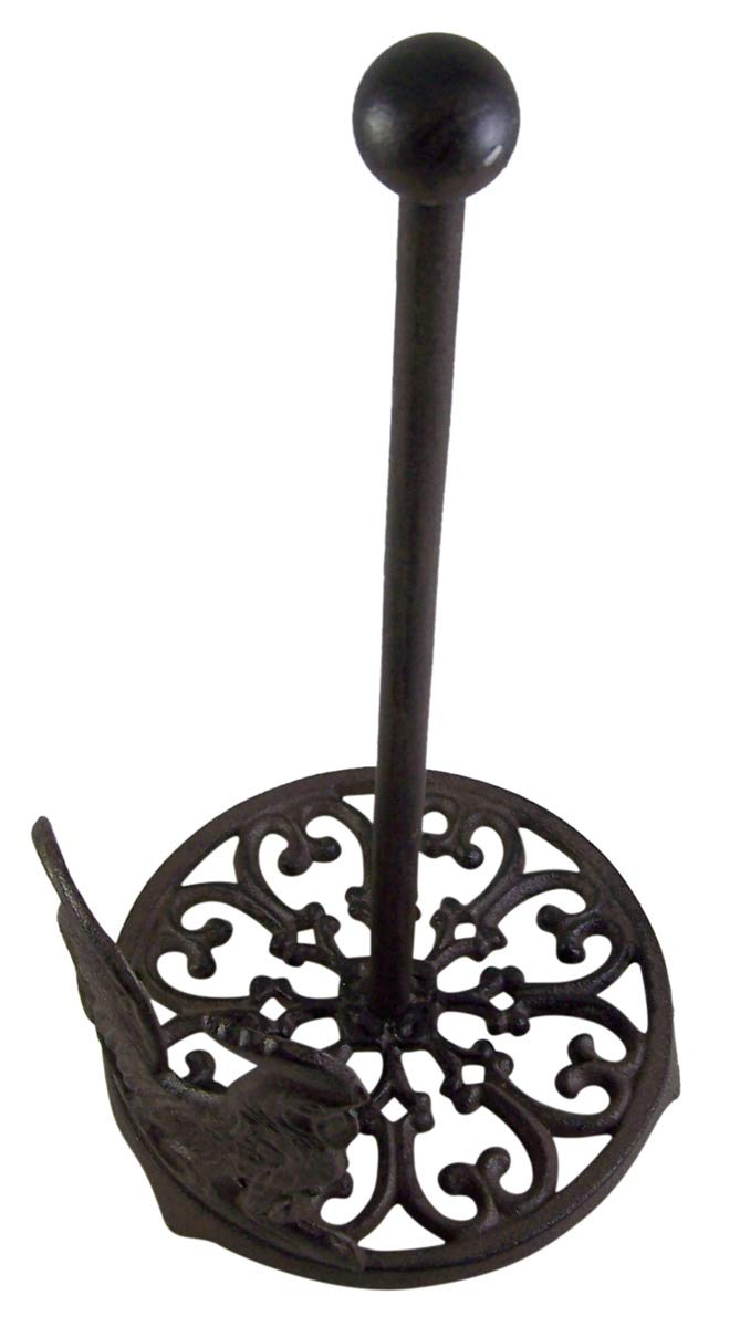 Cast iron rooster paper towel holder