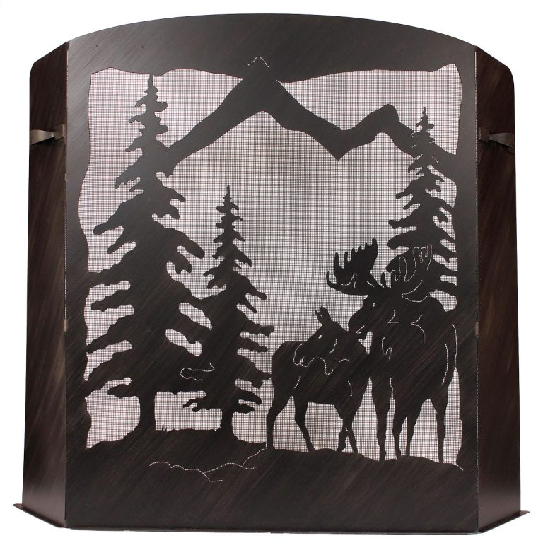 Large fireplace screen with moose and pine trees