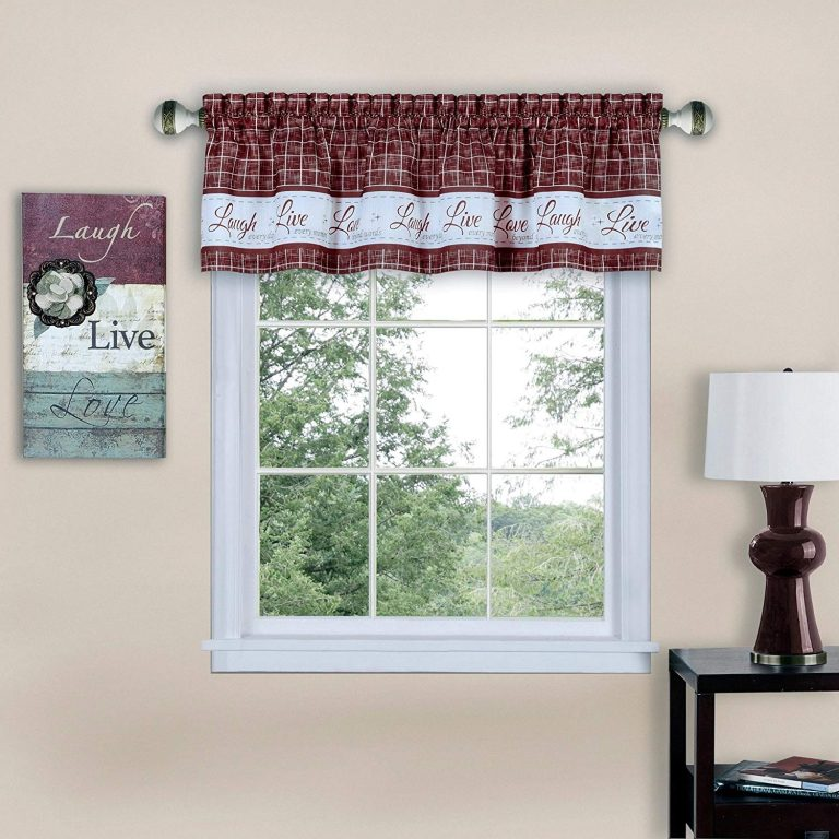 Laugh, live, love curtains valance in burgundy