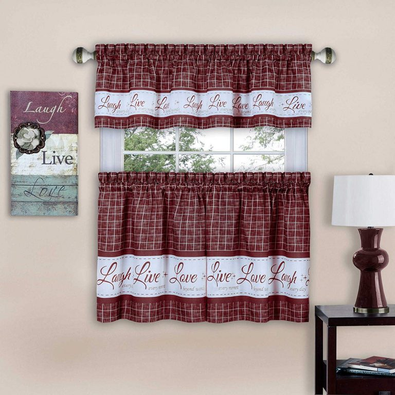 Laugh, live, love curtains in burgundy