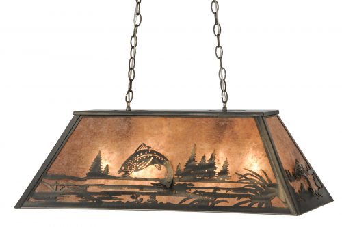 Leaping trout pendant for kitchen island or game room