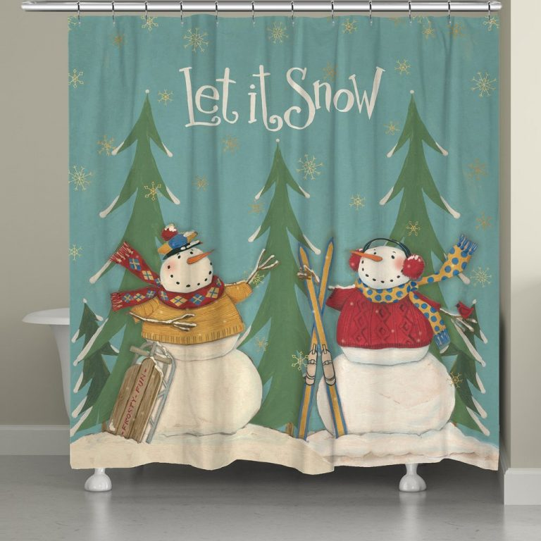 Let it Snow shower curtain with snowmen