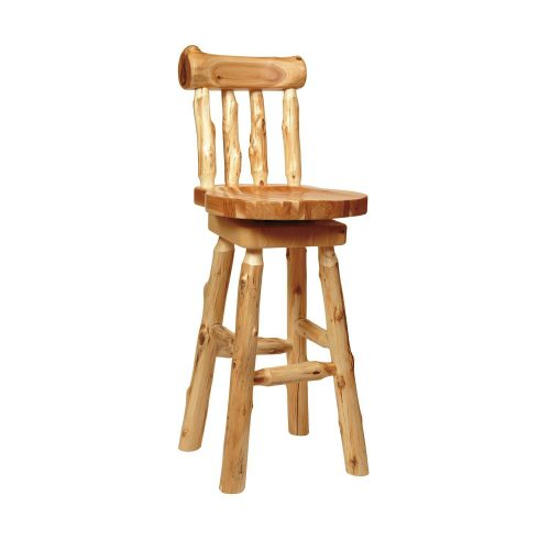 Log bar stool with backrest