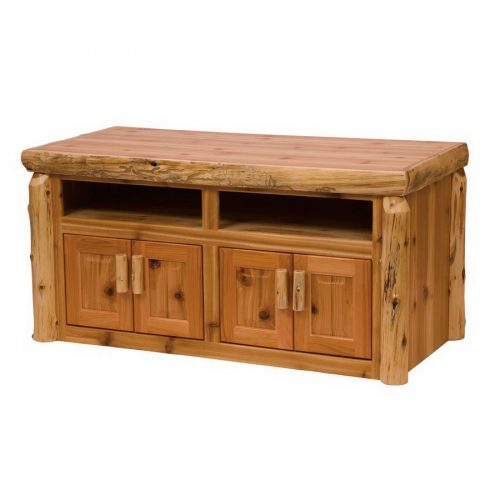 Log Widescreen TV stand with 2 cabinets