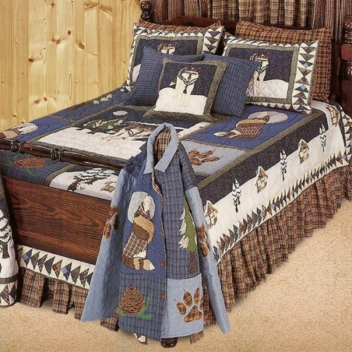 Lone wolf quilt bedding on bed