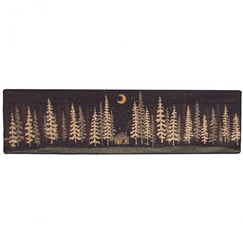 Valance with log cabin in woods at midnight