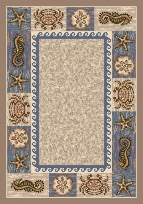 rug depicts a sandy beach surrounded by a starfish, sea horse, and crab lined border.