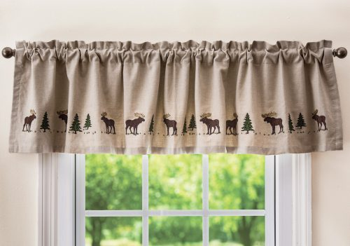 valance with embroidered moose and pine trees