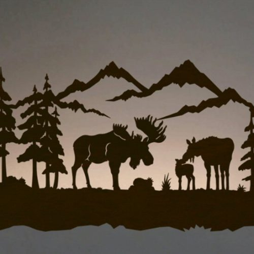 Moose family wall art with back lighting