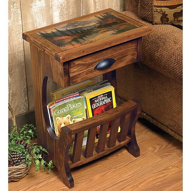 Moose Lake table with magazine rack